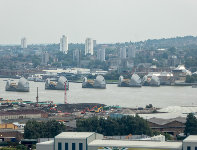 Thames Barrier as seen from the Emirates Cable Car, London E1