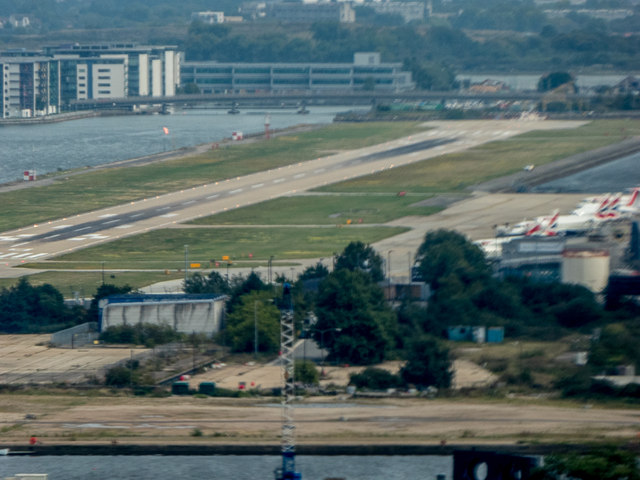 London City Airport Runway as seen from the Emirates Cable Car, London E1