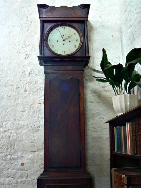 Long case clock and aspidistra, Chastleton House, Chastleton, Oxfordshire