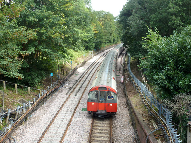 Piccadilly Line train slowing for Ickenham