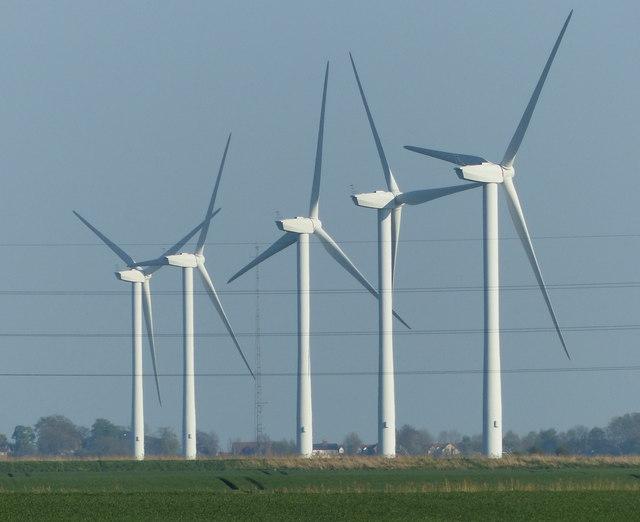 Five turbines at Deeping St Nicholas Windfarm
