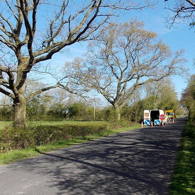 Kennmoor Road roadworks near Kenn