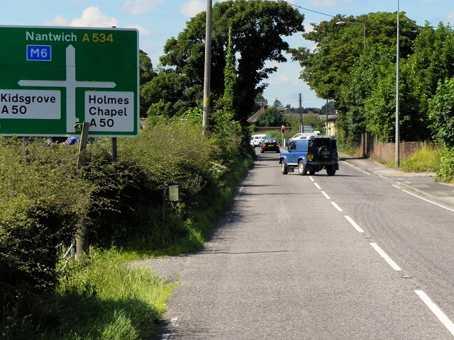 A534 approaching Arclid Crossroads