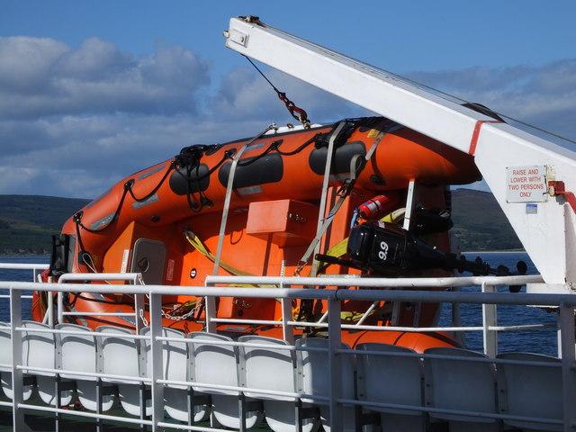 RIB aboard CalMac ferry MV Loch Tarbert