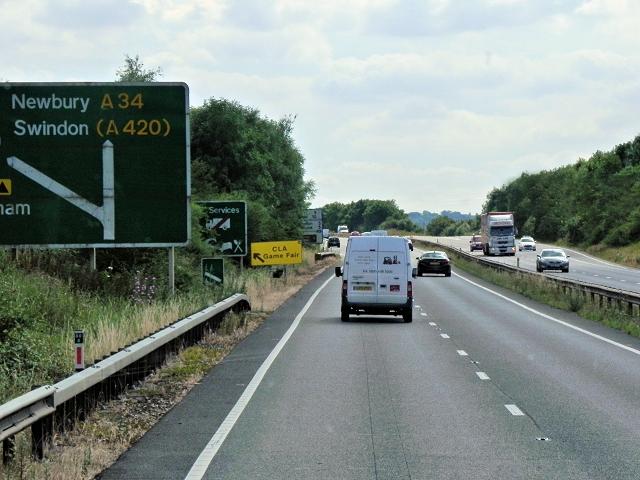 Southbound A34 near Wolvercote