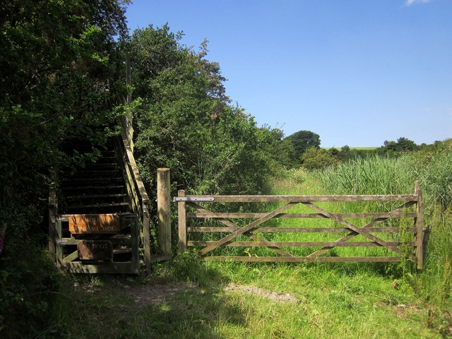 Steps to the hide, West Charleton