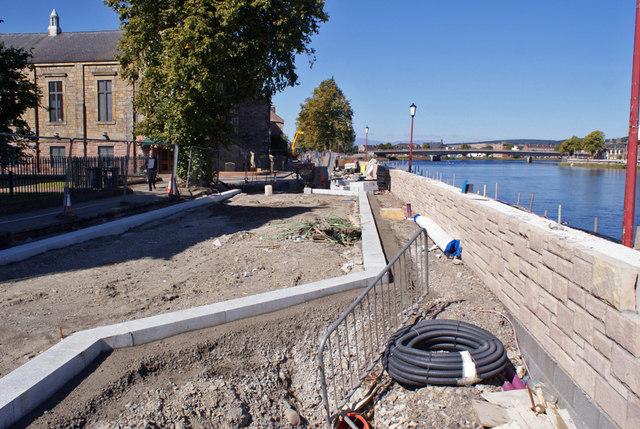 Flood defence construction works