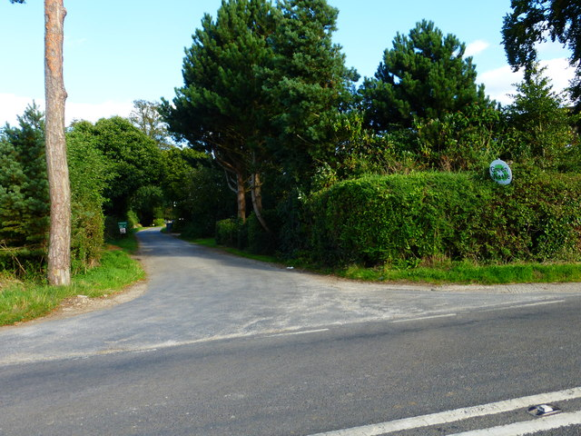 The road at Down Farm seen from the B3349
