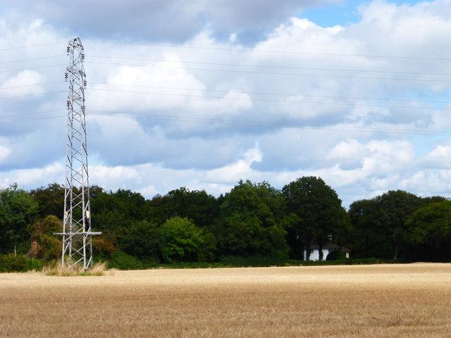 Pylon in field of stubble