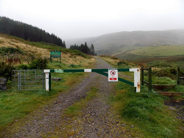 Barrier across a track into Forestry Commission Wales woodland, Blaengarw