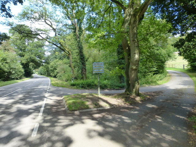Looking north on the B3349 across junction with private road