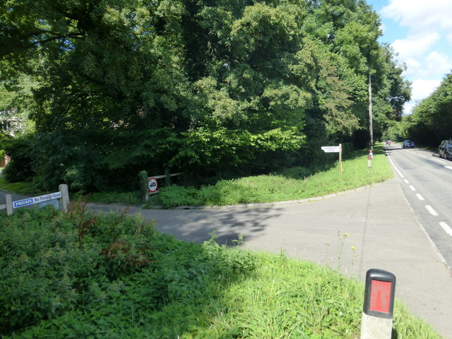 Road junction at entrance to Powntley Copse on the B3349