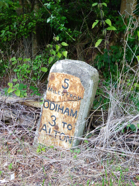 Milestone between Odiham and Alton on the B3349