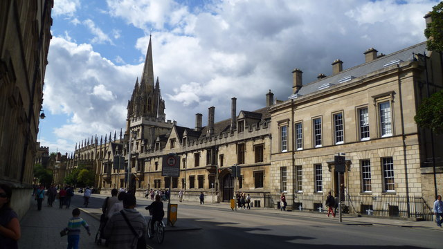 Part of the High Street, Oxford in August