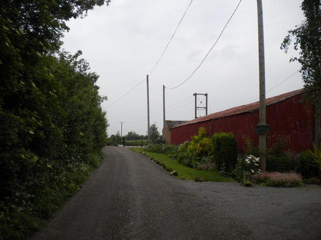Lane passing High Cross Farm