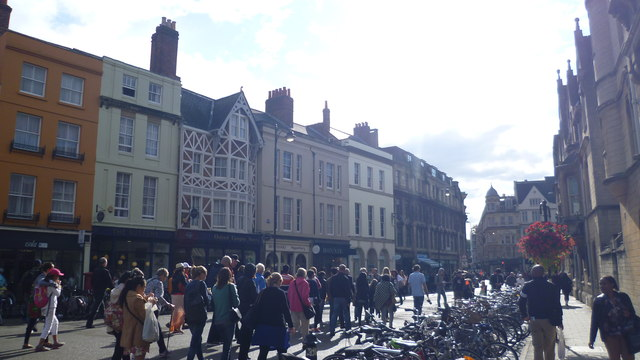 Part of Broad Street, Oxford on a summer afternoon