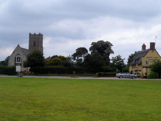 All Saints' church and the Queen's Head pub, Blyford