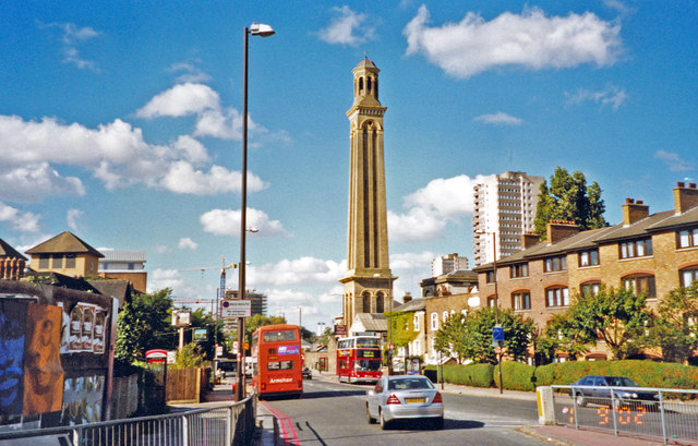 Kew Bridge Road and Standpipe Tower at London Museum of Water and Steam