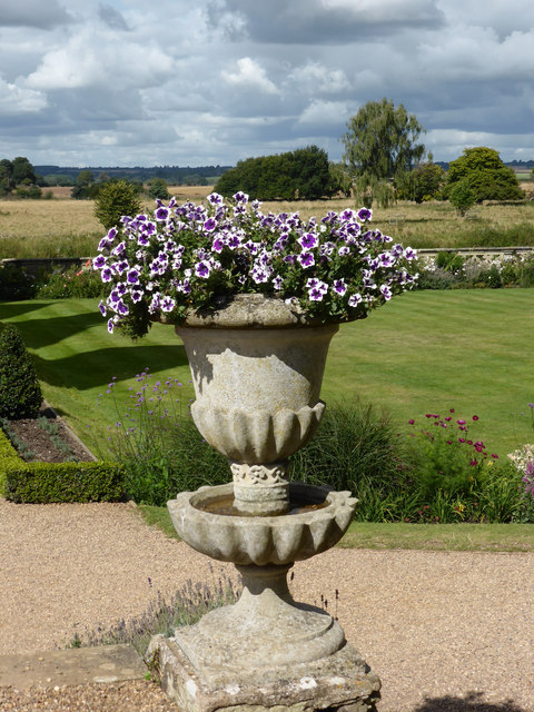 Charlecote Park - urn with flowers