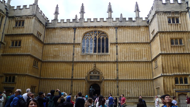 In the quadrangle of the Bodleian Library, Oxford