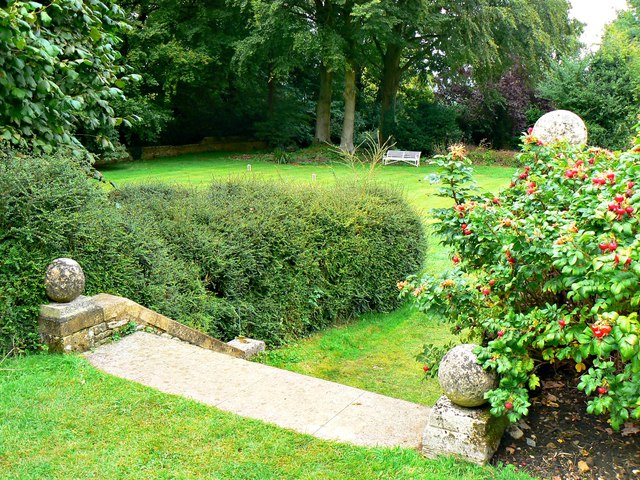 Steps down to the croquet lawn, Chastleton House, Chastleton, Oxfordshire