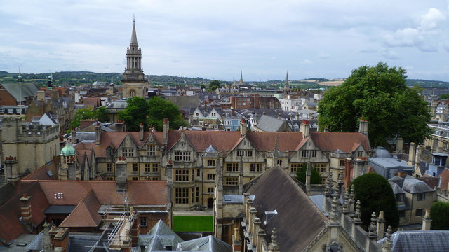 View westwards from the spire of St Mary the Virgin, Oxford High Street