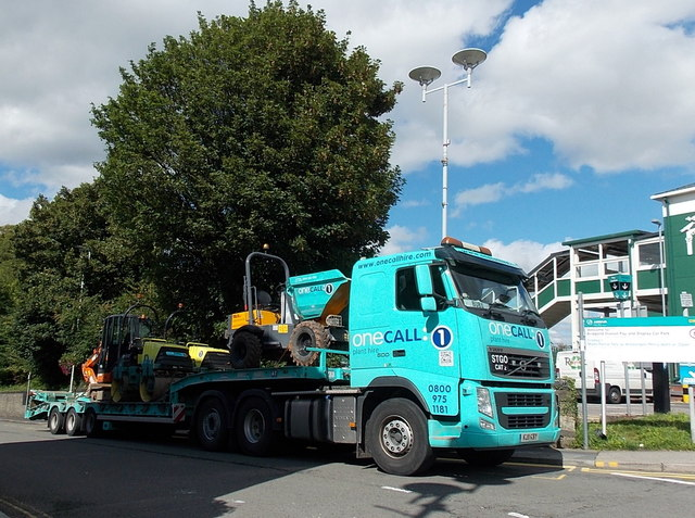 One Call Plant Hire vehicle outside Bridgend railway station