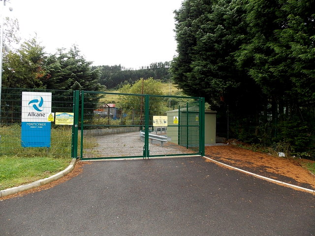 Entrance gates to Alkane, Pontycymer Energy Park