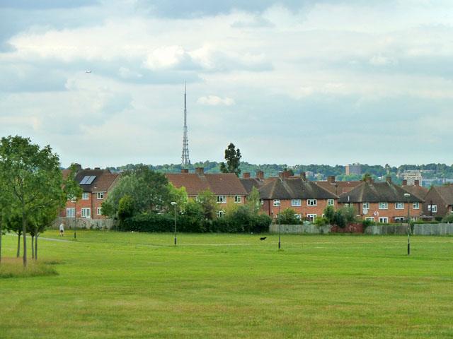 View towards Croydon TV transmitter