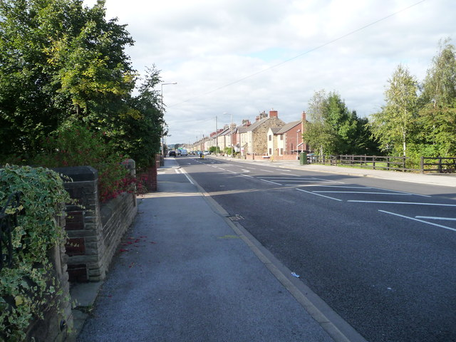 An atypical section of Sheffield Road [A61], Birdwell