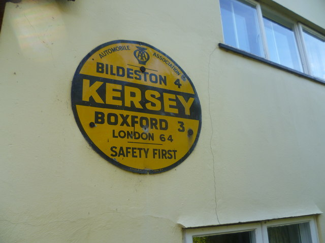 Old sign in Kersey