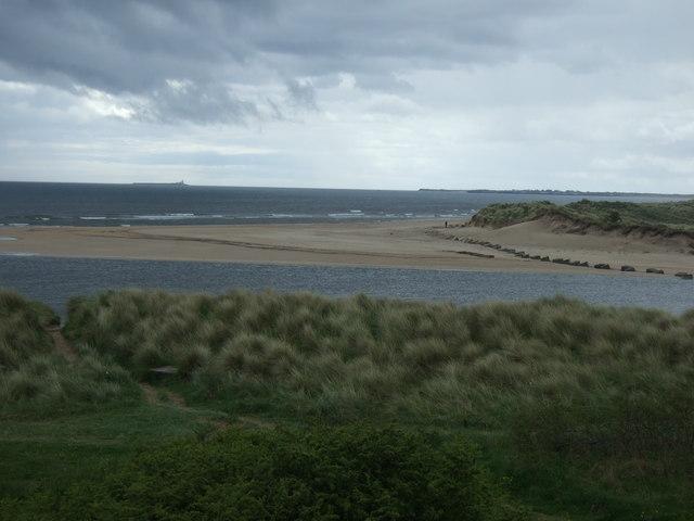 The River Aln nears the sea, Alnmouth