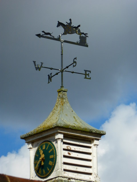 Clock and weathervane at Old Aylesfield Buildings
