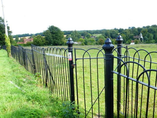 Paddock railings with footpath gate