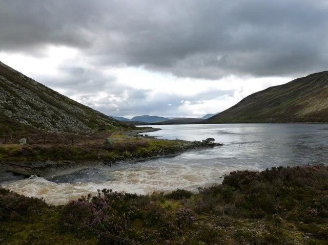 Outfall of Cuaich-Seilich tunnel into Loch Cuaich