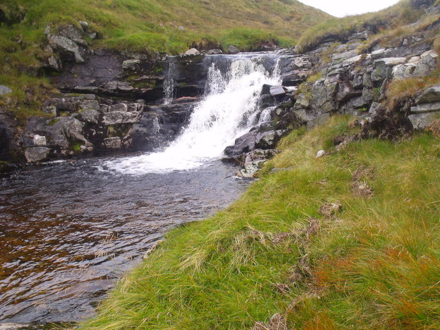 Waterfall on Caochan Dubh in Moine Mhor, Glenfeshie