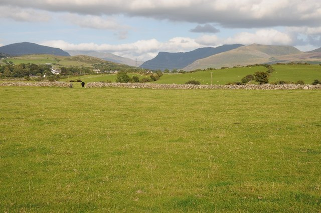 View over Penygroes to Snowdonia