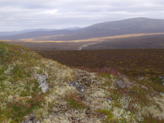 Vegetated knoll on ridge-top above River Feshie