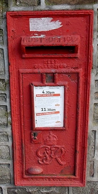 King George VI postbox in a wall, Pontycymer