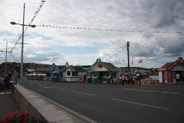 West Bay kiosks and bunting