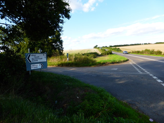 Looking north on the B3349 at the junction of Ford Lane