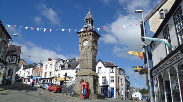The clocktower in Knighton - start or finish point on Glyndwr's Way