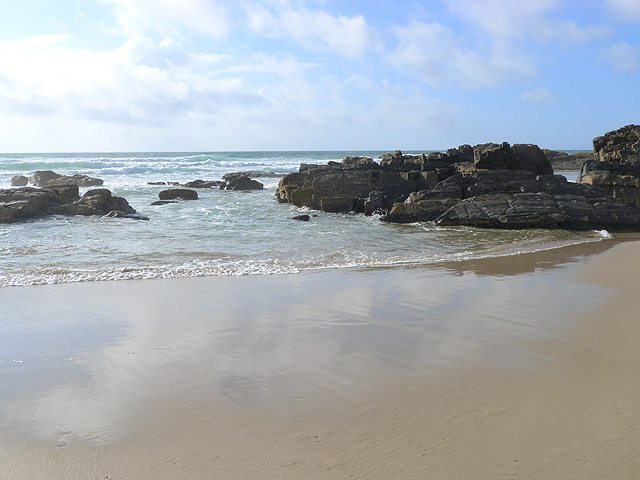 The beach at the north end of Saligo Bay