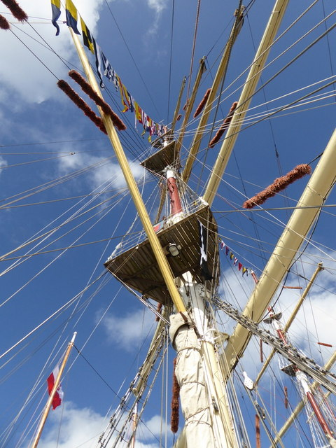 Looking up into the rigging of the Polish ship Dar Mlodziezy