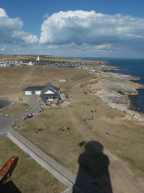 Bill of Portland: view over the café from the lighthouse