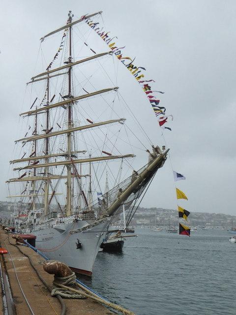 The Polish Tall Ship 'Dar Mlodziezy' in Falmouth Docks