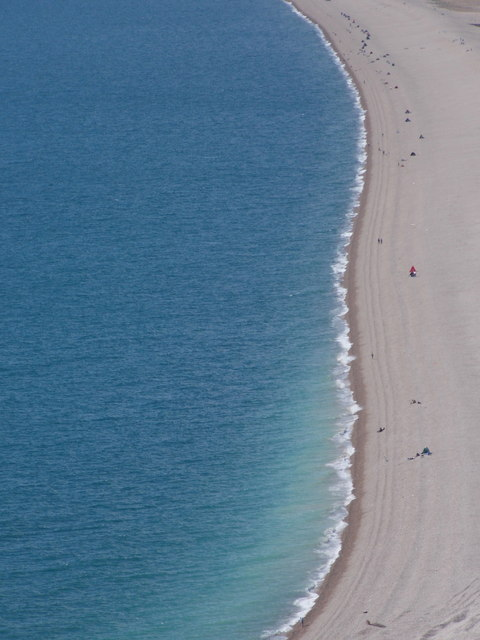 Chesil Beach: people dotted along the beach