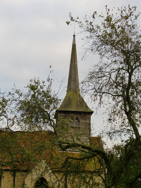 Ilmer church: shingled tower and spire
