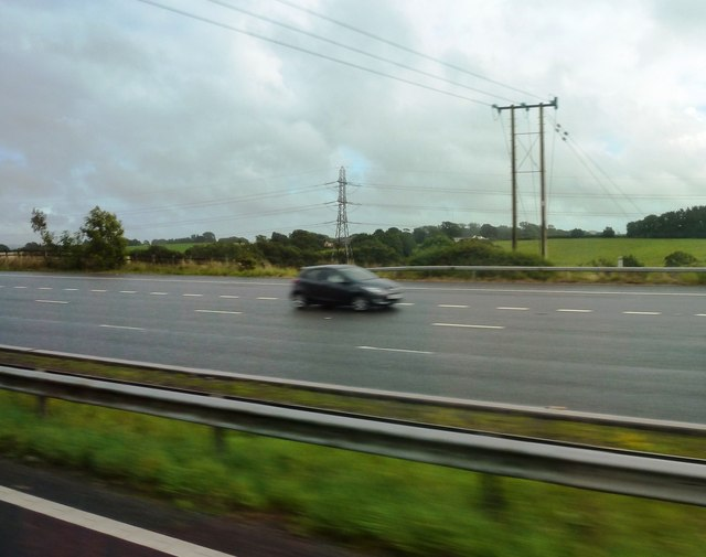 Power lines and approach to Cardiff West on M4