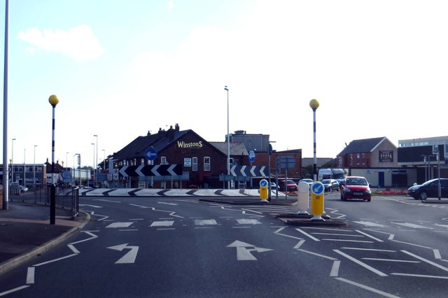 Approaching the roundabout from Red Bank Road